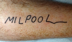 Milhouse's signature on Bart's cast