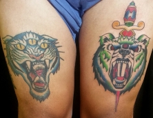 Tiger (healed) and bear (fresh)