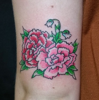 Abstract carnations above the elbow