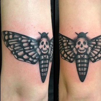 Death's head moth above the elbow, super wrappy